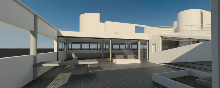 Le Corbusier Villa Savoye built in Revit with Cloud rendering, Sun path animation & 3ds Max daylight Analysis 2014 Revit Displacement view