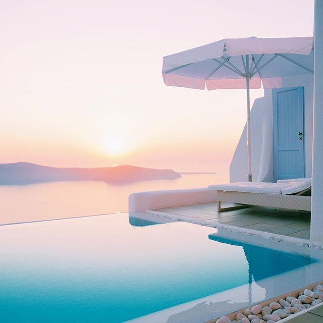 """""""This view will do. Hello Santorini!"""" With a gorgeous #sunset #view from her own balcony, perhaps guest Margotdukes at Instagram is an inspiration for your #holidays at Astra Suites?"""