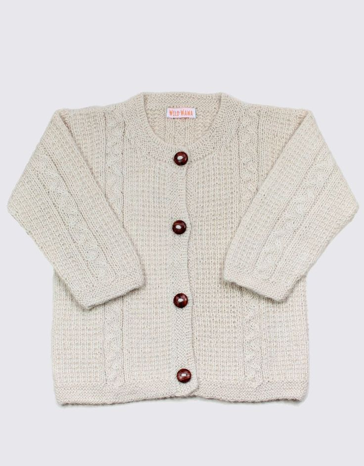 Alpaca cardigan in natural colour soft white by Wild Wawa