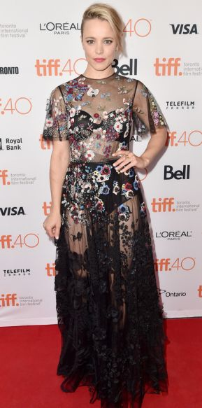 """Rachel McAdams attends the """"Spotlight"""" premiere in a sheer, floral-embroidered Valentino gown during the Toronto International Film Festival, September 2015."""