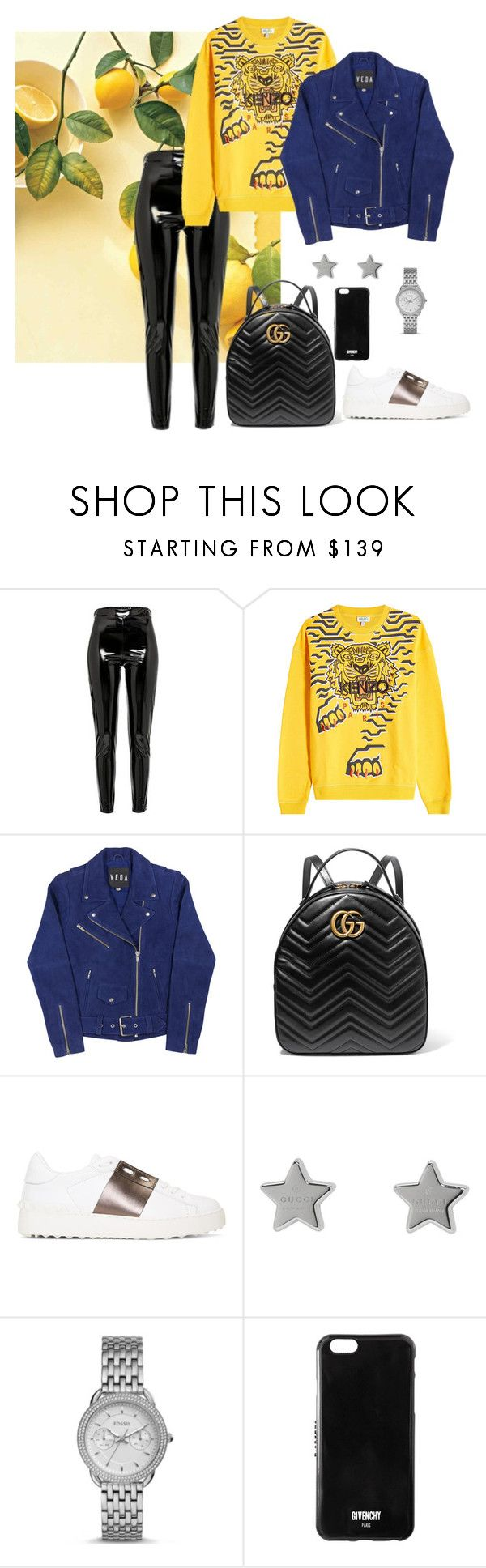 """""""YELLOW"""" by yasmingarcia99 on Polyvore featuring Kenzo, Gucci, Valentino, FOSSIL and Givenchy"""