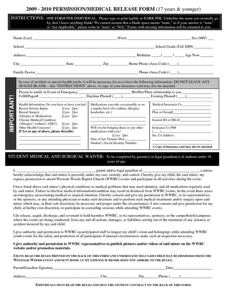 tim wilson (tsw62305) en Pinterest - medical release form sample