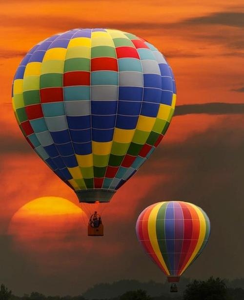 Sunset...I love colorful hot air balloons