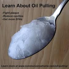 Oil Pulling therapy. Traditionally it is to be done with un-toasted, unrefined sesame or sunflower oil, but coconut works. I do it several times a week. People ask me if I whiten my teeth, nope, it's all from oil pulling. It also has a lot of wonderful detoxifying benefits.