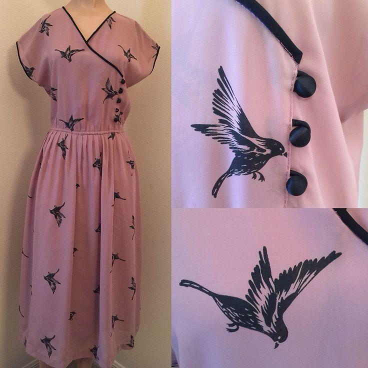 Unique Vintage 40's/80's Black Bird Print Sheer Chiffon Dress Mauve Blush Pink S  | eBay