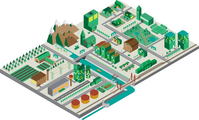 Illustration of an urban landscape. This was achieved through isometric perspective.