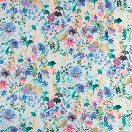 Percale lys aqua m multi blomster print