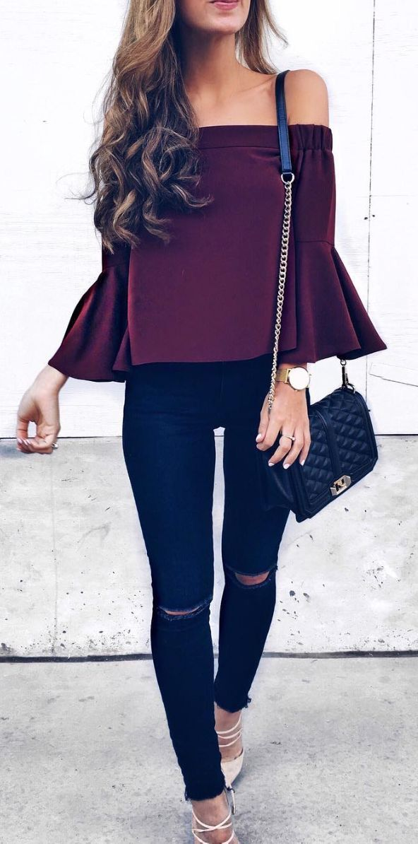 b7a73579a92e Purple off the shoulder top with black jeans.