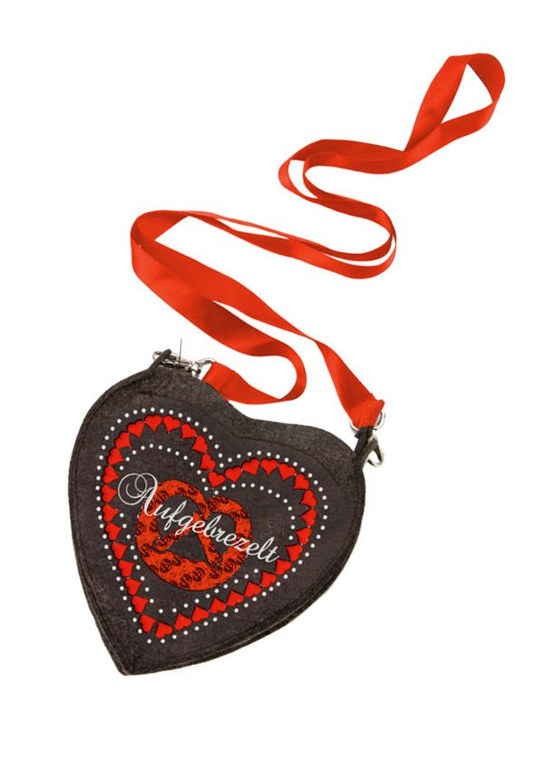 Stockerpoint Trachten Tasche T250 Herz anthrazit aufgebrezelt