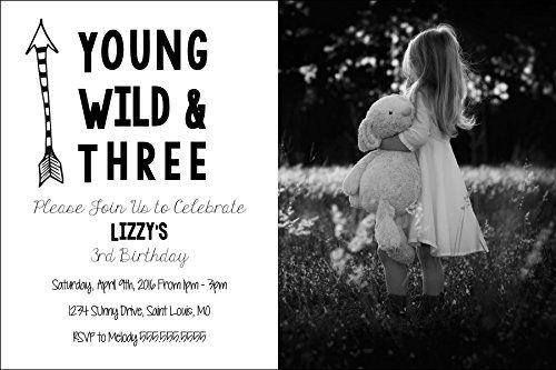 Custom Birthday Party Invitation - Young Wild and Three - Photo Option The Melange Market http://www.amazon.com/dp/B01E1TCPEE/ref=cm_sw_r_pi_dp_sWxcxb00ZW354