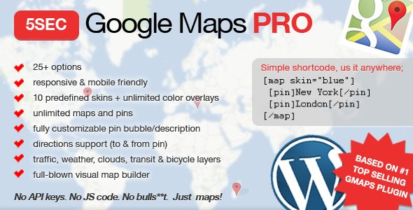 5sec Google Maps PRO - premium WordPress plugin