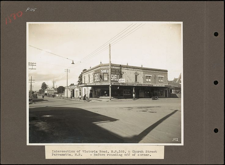 Intersection of Church St & Victoria Rd, Parramatta. 1935