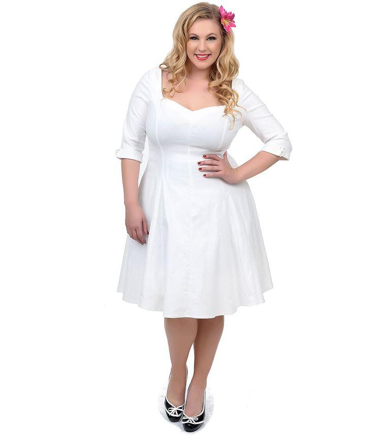 Vintage Three Quarter Length Wedding Dresses: Unique Vintage Plus Size Ivory Three-Quarter Sleeve Grace