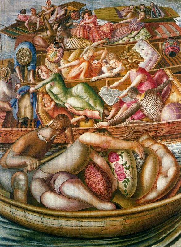 Stanley Spencer, (English painter, 1891-1959) Christ Preaching at the Cookham Regatta Conversation between Punts 1955