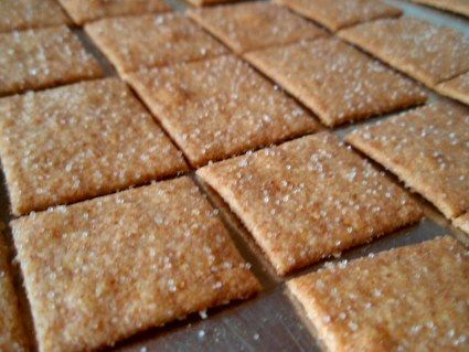 Homemade Wheat Thins, extremely easy and cheap, plus they taste better than the original! ...worth a shot!