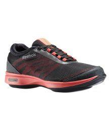 Reebok Black Mesh/textile Sports Shoes For Women