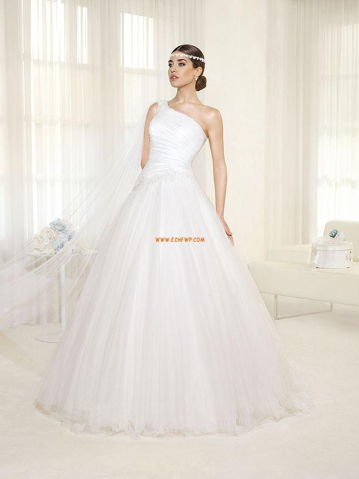 Félvállas  Ujjatlan Rátétek Menyasszonyi ruhák 2014