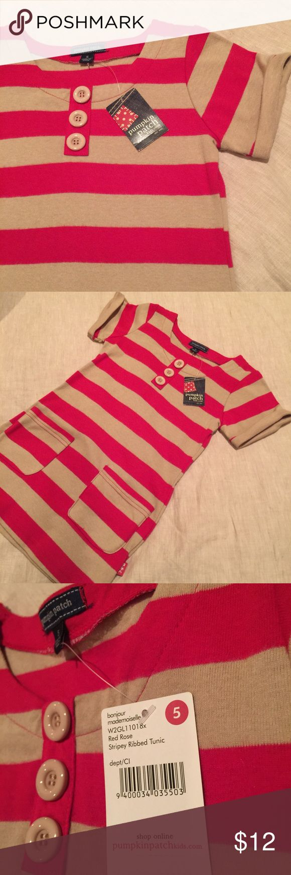 Stripey Ribbed Tunic NWT - Pumpkin Patch Kids.  Very soft, red rose and tan stripes with two front pockets.  Perfect when paired with jeggings or leggings!!  I am offering $6 off purchases over $30, so you only pay .49 for shipping! Pumpkin Patch Kids Shirts & Tops