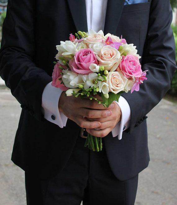 Buchet de Mireasa. Trandafiri roz. Trandafiri by JuliasRoseShop