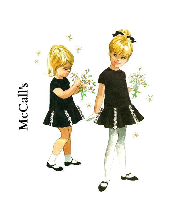 Vintage 1960s McCalls 8521 Designer Helen Lee Girls Long Waisted Dress with a Flared Skirt Sewing Pattern Size 5