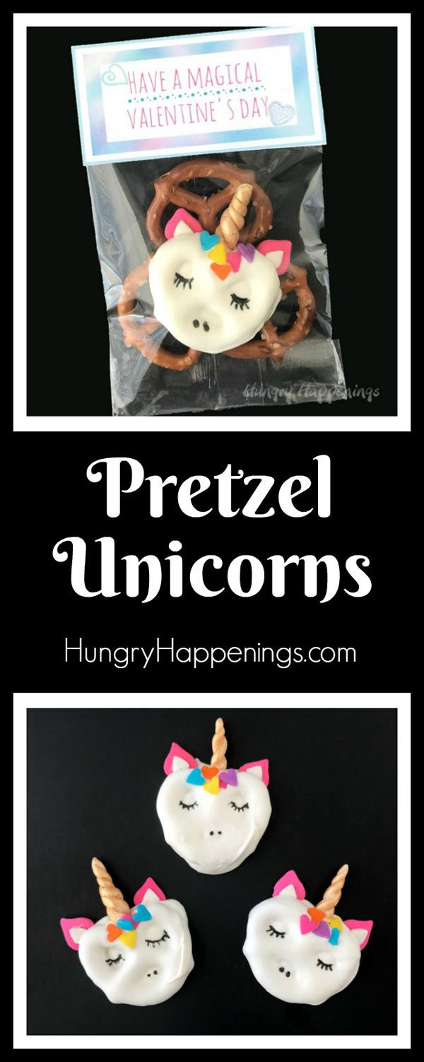 Make your Valentine's Day magical by giving your friends and family these sweet Pretzel Unicorns. Each white chocolate dipped pretzel twist is decorated with a modeling chocolate unicorn horn and rainbow heart sprinkles and is packaged in a bag with a printable topper.