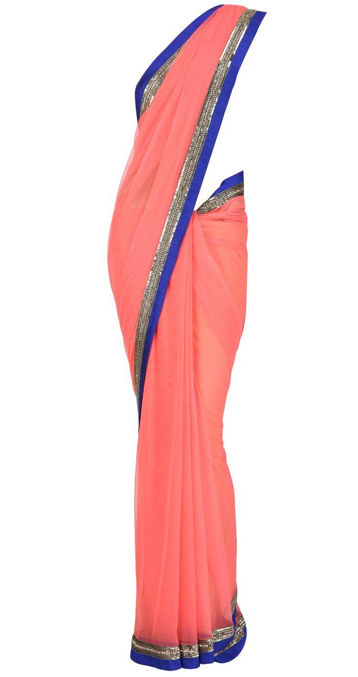 Bright coral net Sari with royal blue and dull gold shine border with golu's by MANISH MALHOTRA. Shop at https://www.perniaspopupshop.com/whats-new/manish-malhotra-3419