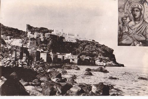 Old postcard, Spiliani monastery and Mandraki view, Nisyros