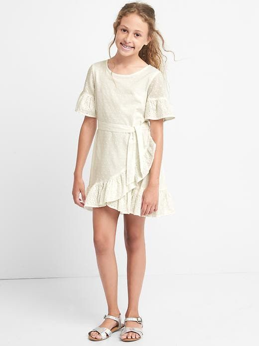Gap Girls Eyelet Ruffle Tulip Dress New Off White