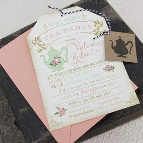 Floral Tea Party Bridal Shower Invitation