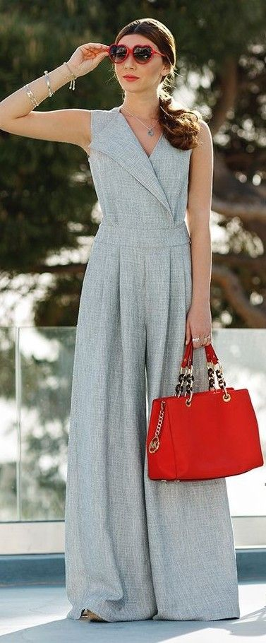 Grey Wide Leg Jumpsuit + Pop Of Red | The Mysterious Girl