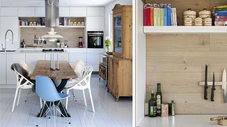 La gulv over kjøkkenbenken
