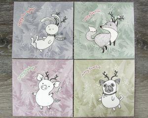 Postkarten Set mit 7 Weihnachtspostkarten mit Tieren im Rentierkostüm, Kunstdruck Bleistiftzeichnung Mixed Media Papeterie • Murmel Comics • Tictail