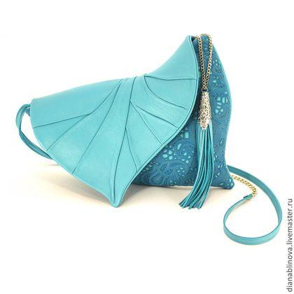 """Женские сумки ручной работы. Ярмарка Мастеров - ручная работа. Купить Клатч """"Лист"""" бирюзовый. Handmade. Кожаная сумка, бирюзовый"""