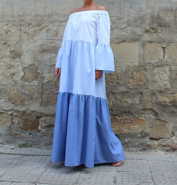Hey, I found this really awesome Etsy listing at https://www.etsy.com/il-en/listing/278943620/blue-cotton-off-shoulder-maxi-dress-long