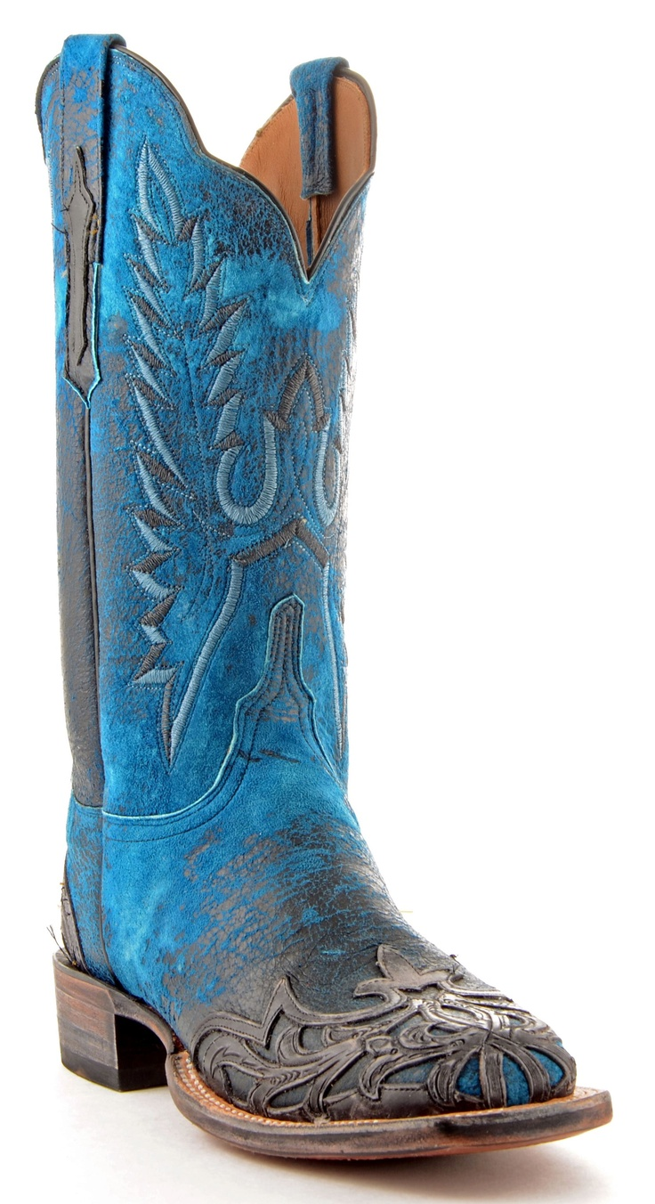 Womens Lucchese Break Goat Boots Blue #Cy2513.  Something blue for the bride.  Beautiful overlay and stitching.