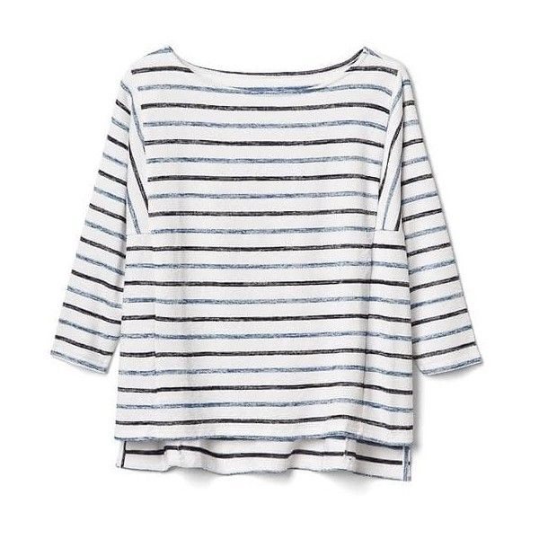 Gap Women Softspun Boxy Stripe Batwing Top ($35) ❤ liked on Polyvore featuring tops, blue stripe, regular, stripe top, batwing tops, boat neck tops, white batwing top and boxy top