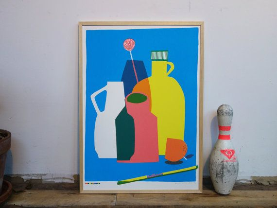 Colorful screenprint of a bunch of vases and some other weird objects