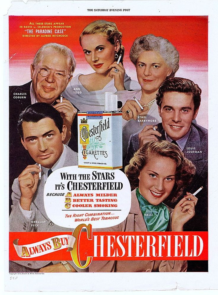 "1948 'Saturday Evening Post' Chesterfield Cigarette Ad with Alfred Hitchcock's ""The Paradine Case"" film cast of actors and actresses featuring Gregory Peck, Charles Coburn, Ann Todd, Ethel Barrymore, Louis Jourdan and Alida Valli."