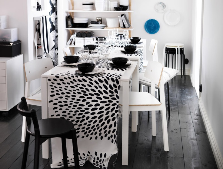 The perfect spot for a dinner party. TRÅDKLÖVER  fabric runner. Click to view room.