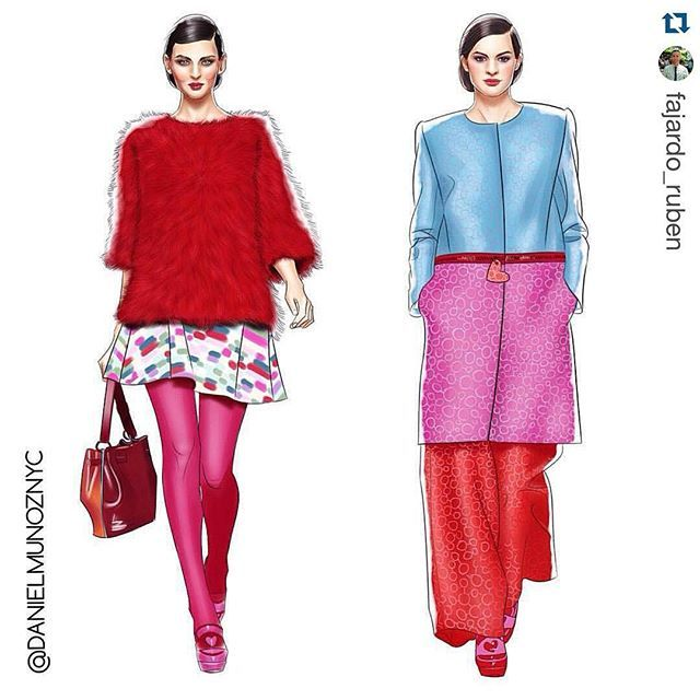 Thank you @fajardo_ruben @latinoshowmagazineofficial @agatharuizdlprada @agatharuizdlprada . . . .  Amazing illustrations by my friend and fashion illustrator Daniel Muñoz @danielmunoznyc of 2 of my favorite looks from the Fall/Winter 2015 collection by Agatha Ruiz de la Prada @agatharuizdlprada . These illustrations will be featured with my interview of my friend and fashion designer Agatha Ruiz de la Prada for Latino Show Magazine @latinoshowmagazineofficial. Great job Daniel, you are…