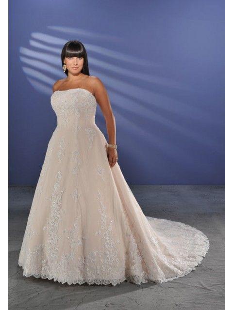Bespoke Strapless Lace Satin Plus Size Chapel Train Wedding Frocks