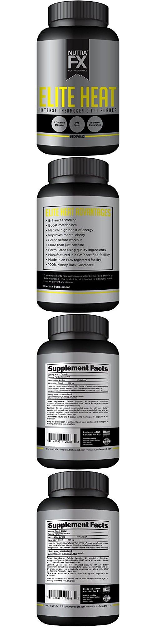 NutraFX Elite Heat - Focus and Energy Pills + Thermogenic Fat Burner (60 Yellow Capsules), Formerly NutraFX Yellow Energy Extreme