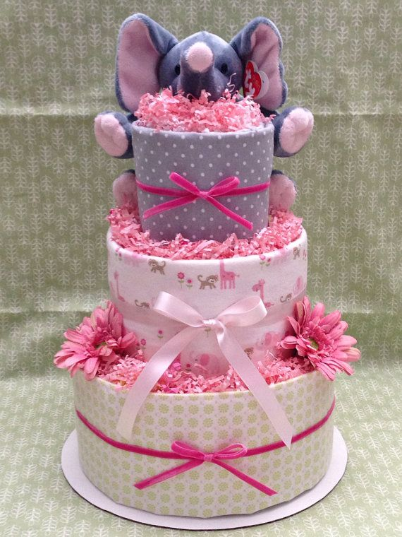 Pink Elephant Diaper Cake for Baby Shower Centerpiece and New Baby Gift