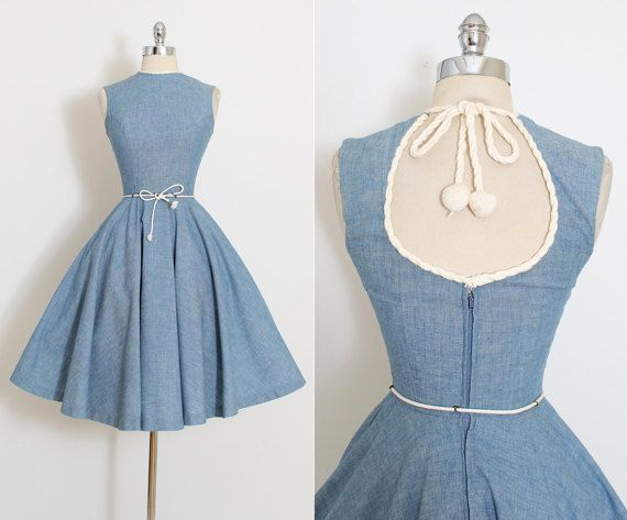 ➳ vintage 1950s dress * darling nautical cotton denim * soft yarn rope trim * keyhole opening in back with tie * full skirt * detachable belt * metal back zipper condition | excellent fits like xs length 41 bodice length 16 bust 32-34 waist 23-24 ➳ shop http://www.etsy.com/shop/millstreetvintage?ref=si_shop ➳ shop policies http://www.etsy.com/shop/millstreetvintage/policy twitter | MillStVintage facebook | millstreetvintage instagram | ...