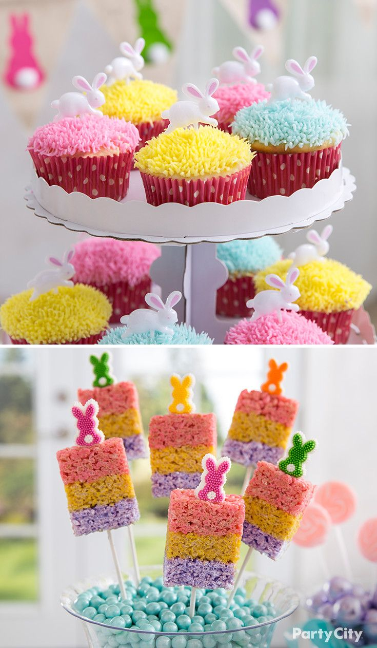 The perfect Easter party is not complete without sweet treats in spring shades! Begin by adorning cupcakes with colorful grass, using a decorating tip and brightly tinted icing. Then, top triple layered crispy rice pops with yummy bunny icing decorations. What an adorable idea!