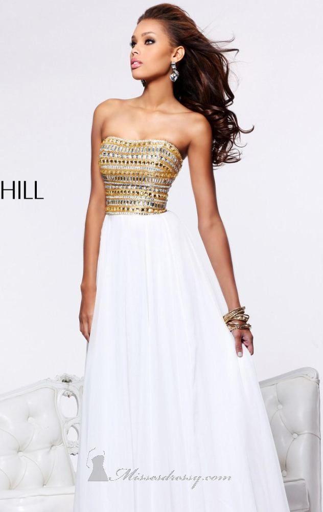 Shop it here: http://www.missesdressy.com/dresses/designers/sherri-hill/1539 #dress #promdress #beaded #strapless #gown #gold #MissesDressy #SherriHill