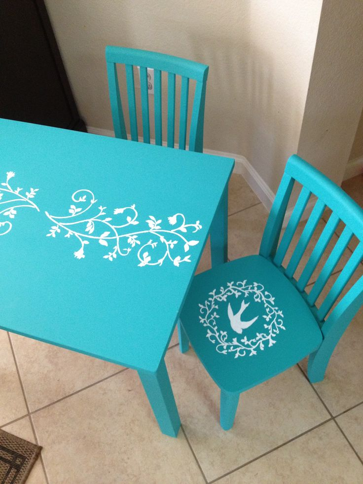 DIY Chalk Paint Kids Table and chairs.