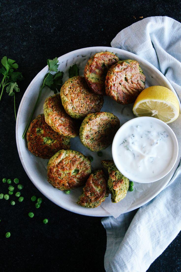 Baked Green Pea Fritters (Vegan + GF) via @wallfloweraimee