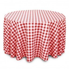 120 Inch Round Polyester Tablecloth Red And White Checkered On A 60 Inch Round  Table