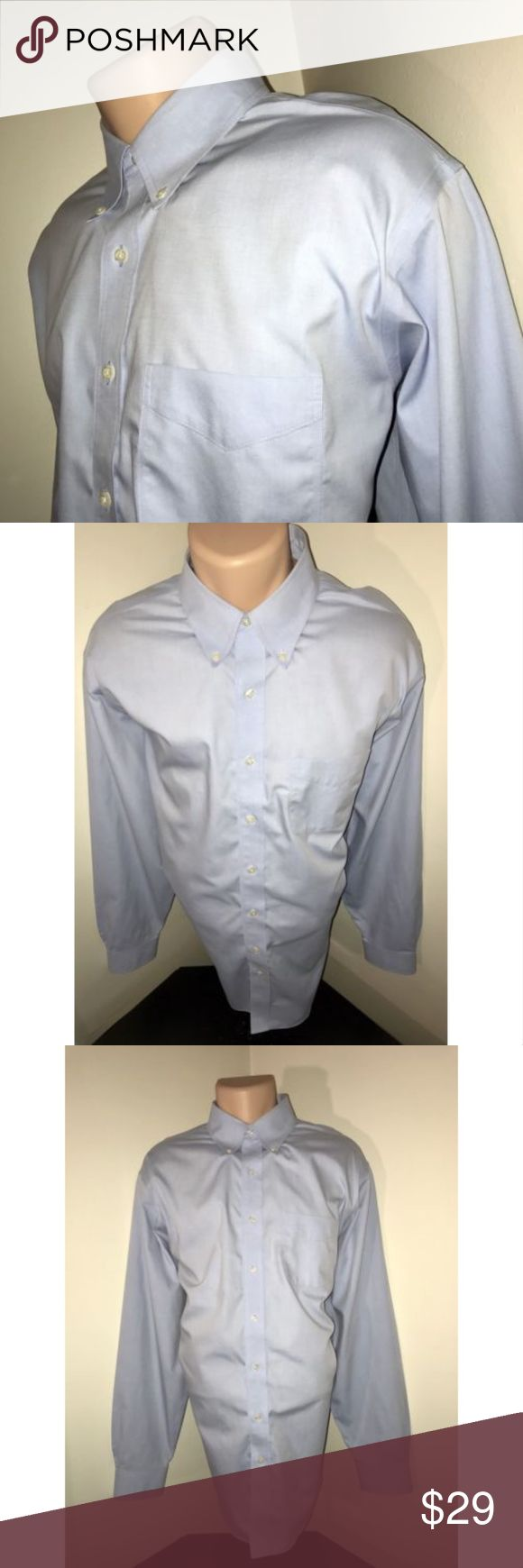 Brooks Brothers 346 Blue Oxford Non Iron Shirt 17 Size: 17 - 6/7 Color: Solid Light Blue Oxford Tag Measurements- 17 - 6/7 Material: 100% Cotton Condition: Excellent Features: Long Sleeve, Button down Collar, Only worn a few times, Comfortable, Standard Cuffs Flaws: None Measurements:  Chest - 26.5 inches  Shoulder - 21 inches  Sleeve - 26.25 inches  Length - 33.5 inches Brooks Brothers Shirts Dress Shirts
